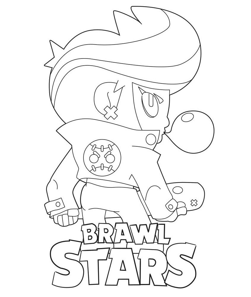 Bibi Brawl Stars para colorear fanart de espaldas mascando chicle dibujo