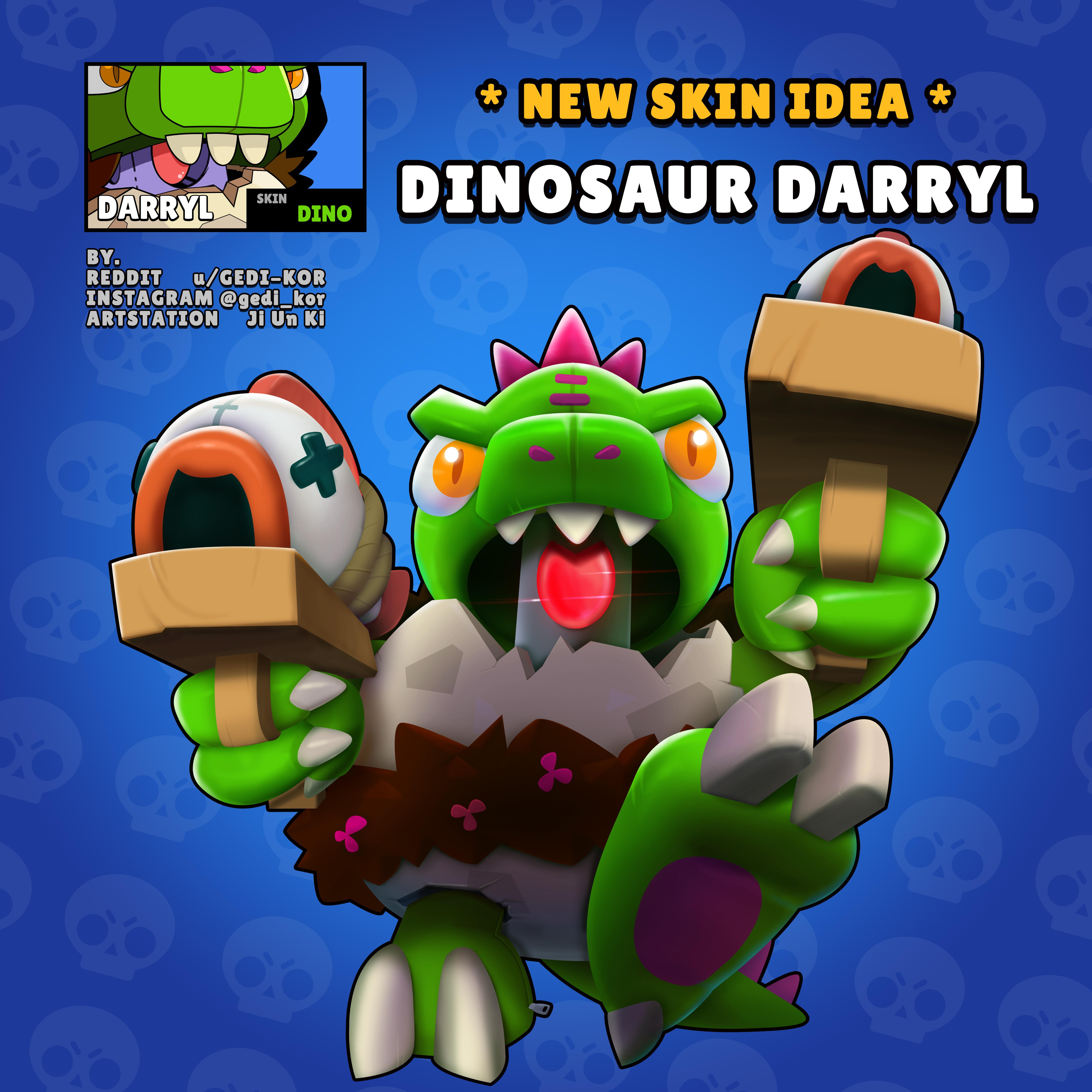 dinosaur darryl idea fandom fanart brawl stars