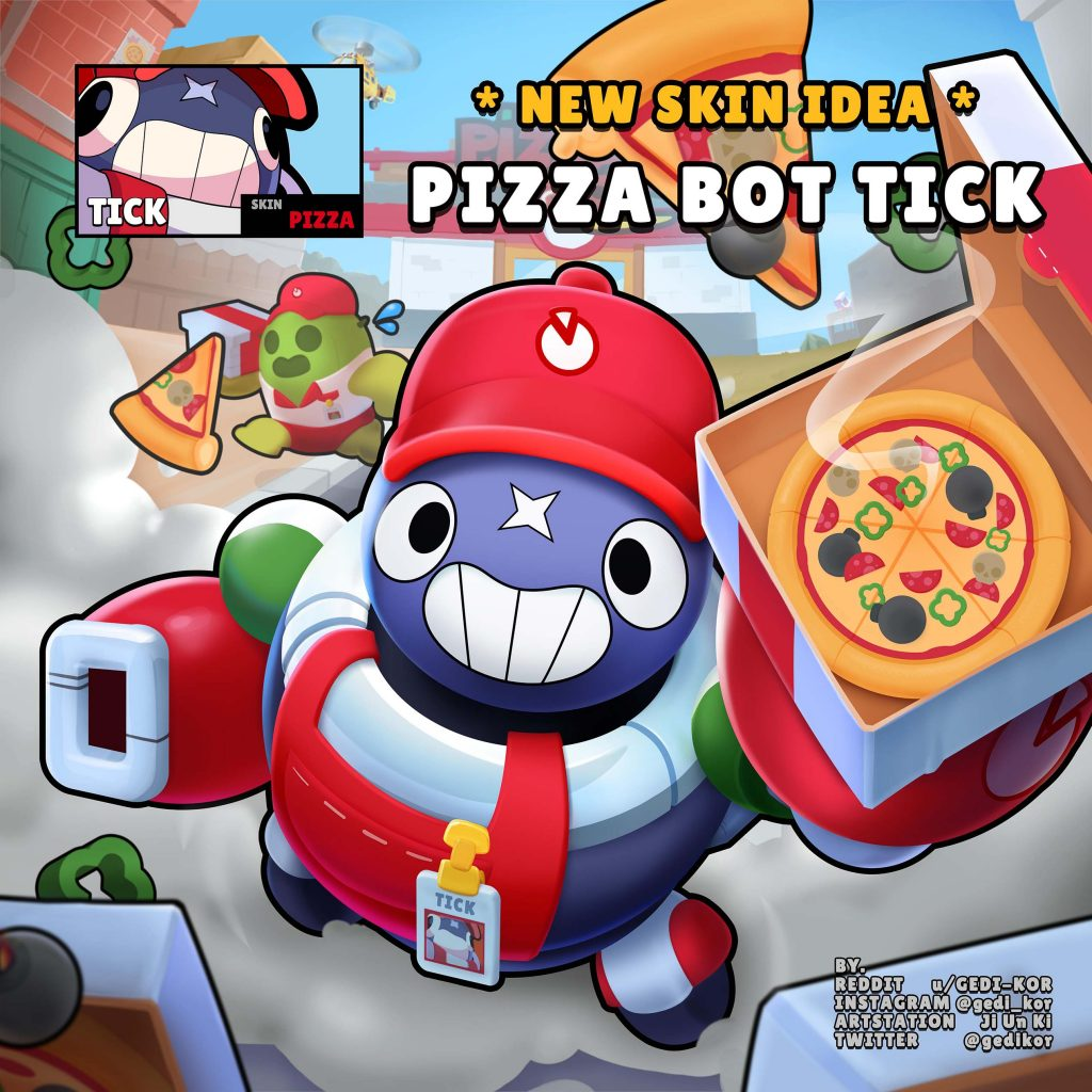 tick skin idea pizza bot fanart