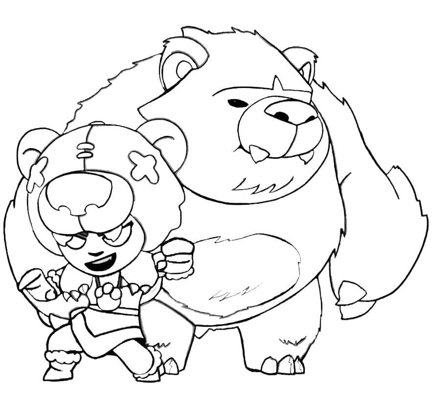 nita con su oso para pintar